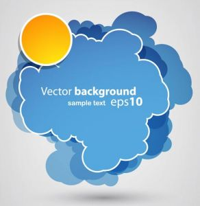 Blue sticker cloud vector