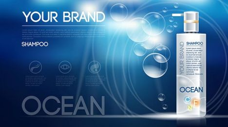 Digital vector silver shampoo mockup on blue