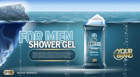 Digital vector blue shower gel for men mockup