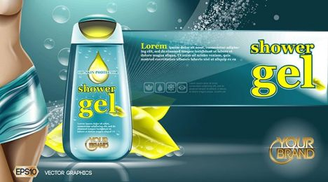 Digital vector aqua and yellow shower gel