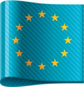 European Union vector flag label