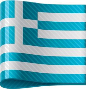 Greek vector flag label