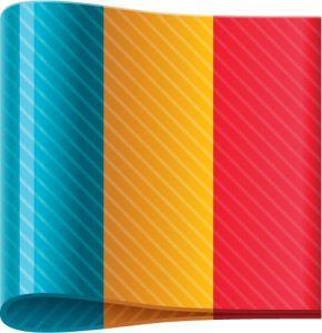 Romanian vector flag label