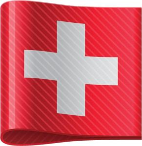 Swiss vector flag label