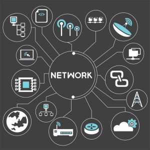 Creative network with flat icons template