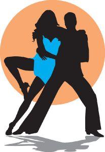 Dancing latino music silhouettes vector