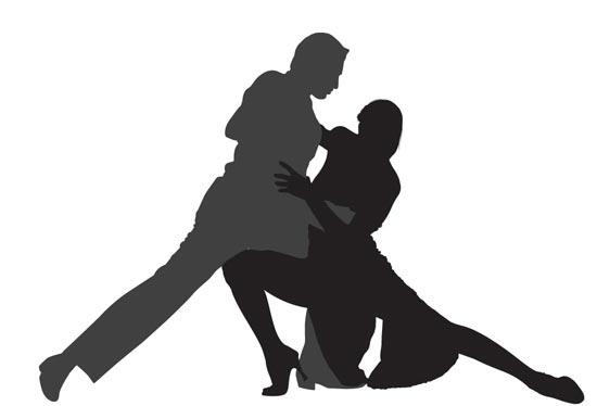 Dancing Tango Silhouettes Vector