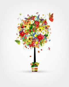 Decoration flowers bouquet illustrations