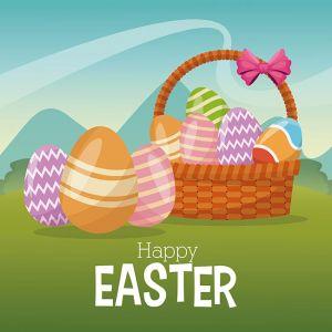 happy easter card basket egg ornament landscape,happy easter card basket egg ornament landscape