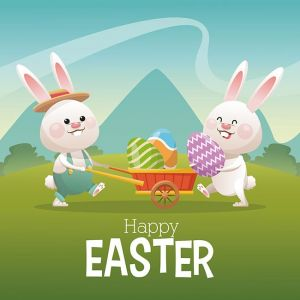 happy easter card couple bunny egg landscape,happy easter card couple bunny egg landscape