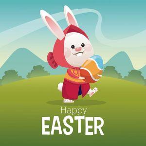 happy easter card girl bunny egg landscape,happy easter card girl bunny egg landscape