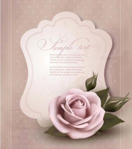 Decorative wedding cards with rose vector