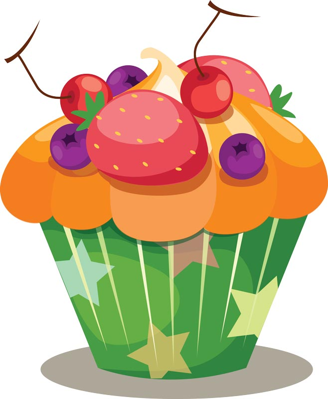 Delicious cupcakes with sprinkles vector - Cupcakes dessin ...