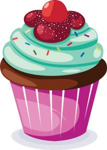 Delicious cupcakes with sprinkles vector