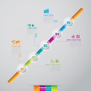 Diagrams infographic stickers vectors