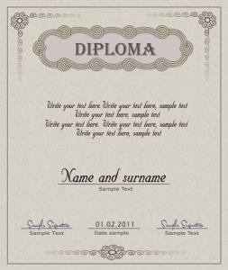 Diploma template vector