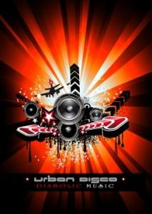 Disco music banner