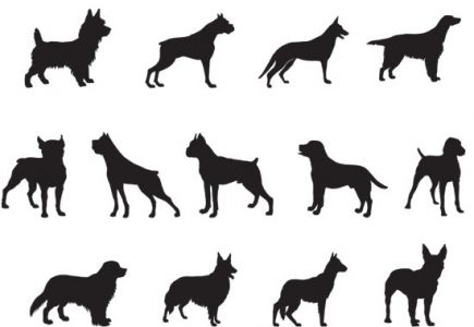 Dog silhouettes shapes vector