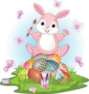 Easter bunny and eggs vector cartoon