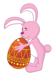 Easter bunny and eggs vector cartoon