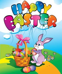 Easter cartoon vectors with rabbit and basket of eggs