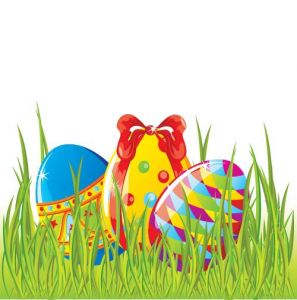 Easter cartoon vectors with colored eggs