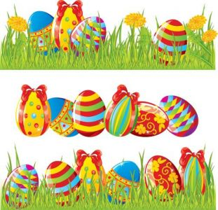 Colored cartoon easter eggs