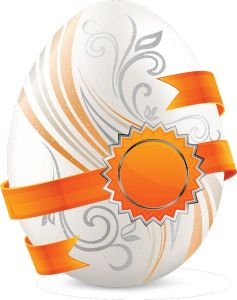 White Easter eggs vector with orange sticker