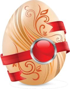 Pink Easter eggs vector with red sticker