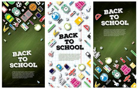 Back To School Banner Set with School Supplies. Vector Illustration.