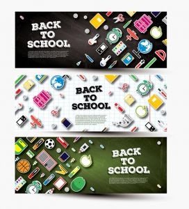 Back To School Banner Set with School Supplies.