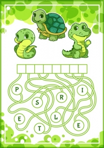 Educational puzzle game with cute green animals.