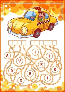 Educational puzzle game with taxi.