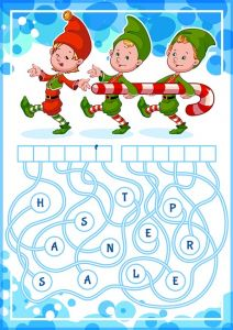 Educational puzzle game with christmas gnomes.