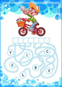 Educational puzzle game with boy on bike.