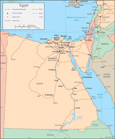 Vector Map - Map of egypt with major cities