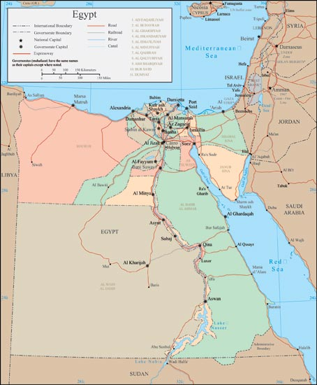 Vector Map - Map of egypt vector