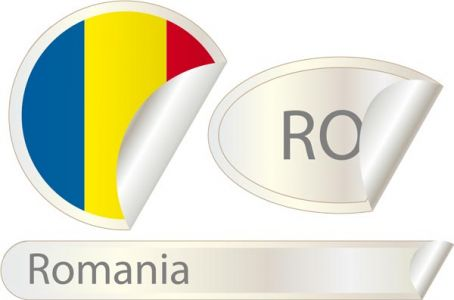 Romania flag label vector