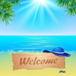Summerl seaside view poster. Vector background.