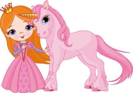 Fairy princess in pink cartoon vector