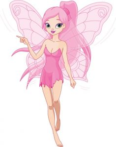 Fairy princess in pink cartoon vector