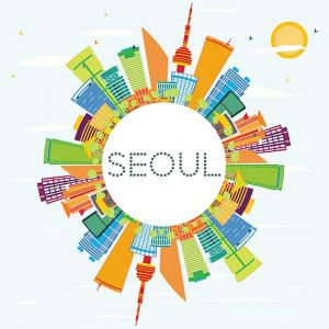Seoul Skyline with Color Buildings and Copy Space.