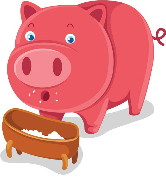 Cartoon image of pig eating