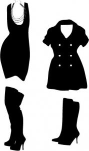 Fashion clothes and accessories silhouettes vector