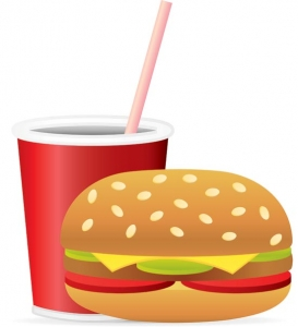 Fast food vector hamburger with soda