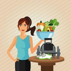 Healthy lifestyle. cartoon woman design.  bodybuilding concept