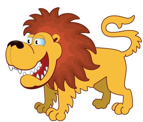Flatten jungle animals cartoon vectors