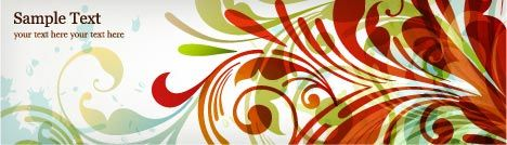 Colored floral banner vector