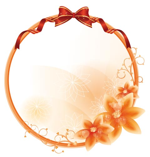 Flower vector frame borders – mirror