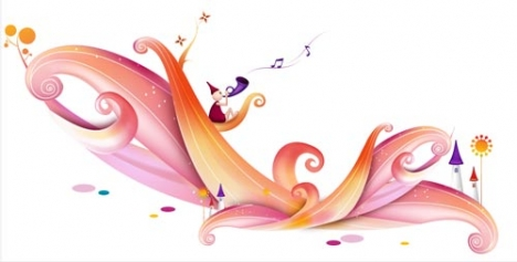Flower waves vector